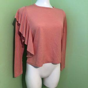 ZARA | Ruffled shoulder blouse | Size Small